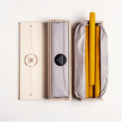 """Kerzenbox """"candlelight"""" 9 Stück gerollte Tafelkerzen in unserer exklusiven Holzbox"""